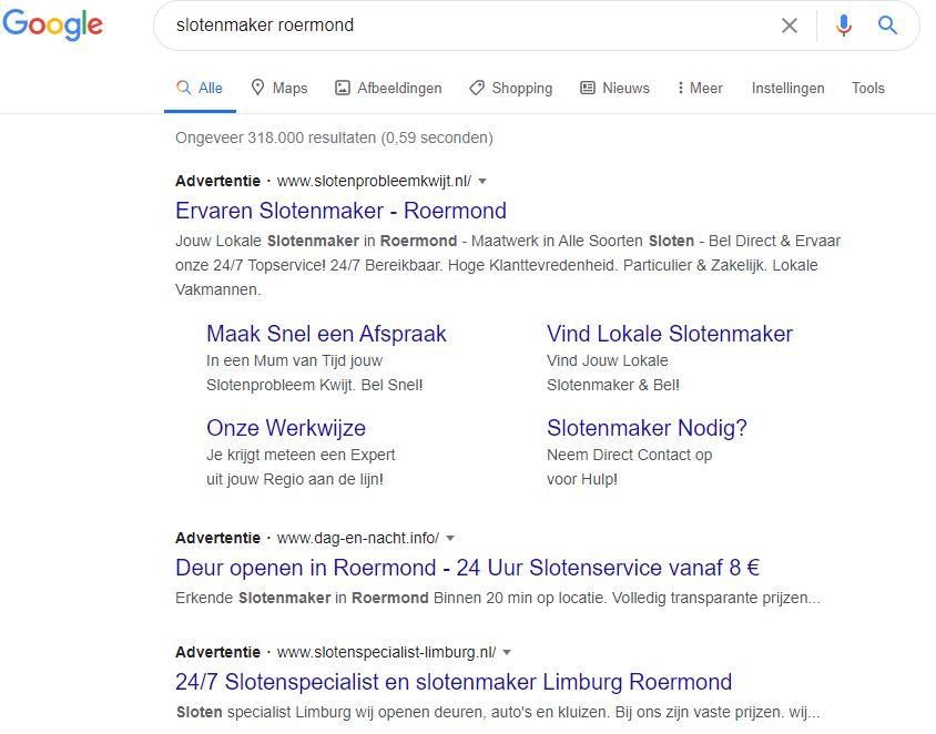 Google zoekresultaten op - Slotenmaker Roermond