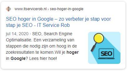 SEO hoger in google Meta omschijving