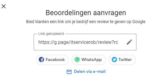 testimonials - Google Review - korte URL